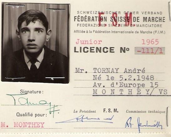Licence d'André Tornay en 1965 [DR]