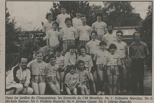 Photo du CM Monthey dans Le Nouvelliste du 5 décembre 1990 [DR].