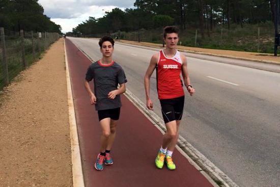 Nathan Bonzon et Guillaume Pommaz au Portugal en février 2016 [P. Grandjean]